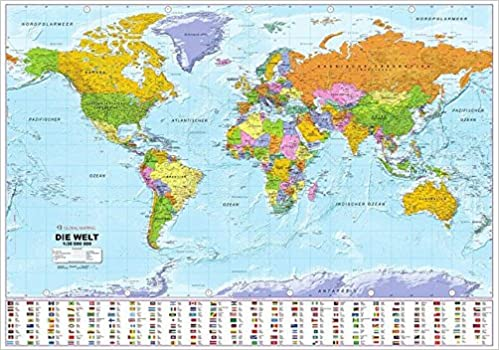 Politische Weltkarte 1 30 000 000 Mit Flaggen Deutsche
