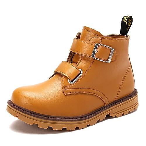 Chicos Botas de Nieve de Invierno con Velcro Moda Botines marrón Negros Botas de Felpa Martin Calzado Casual para niños al Aire Libre: Amazon.es: Zapatos y ...