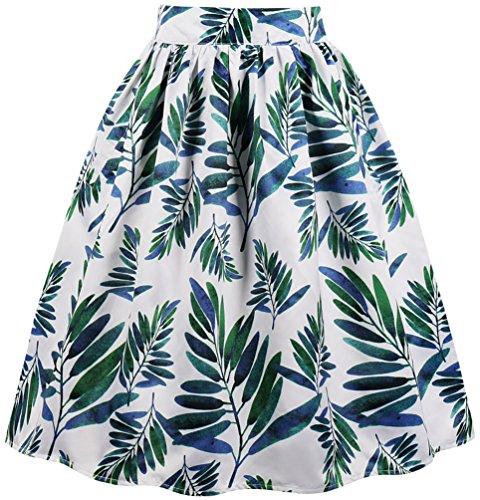 OLIPHEE Jupe Midi Femme Plisse Taille Haute Basique lgante Classique Chic Casual Cocktail A-Line Robe Fleur imprim Jupe Retro Grande Taille. Couleur 5