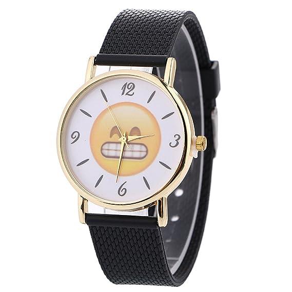 2017 Emoji Cute Mujeres Cuarzo Relojes Cooki Remoción Ladies relojes mujer relojes piel watch-n3: Amazon.es: Relojes