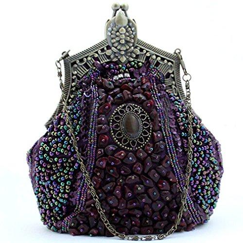 Belsen Women's Wedding Bead Sequin Evening Handbags (Purple)