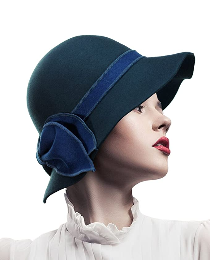 1930s Style Hats | Buy 30s Ladies Hats Bow Wool Bell Cloche Bucket Hat $27.99 AT vintagedancer.com