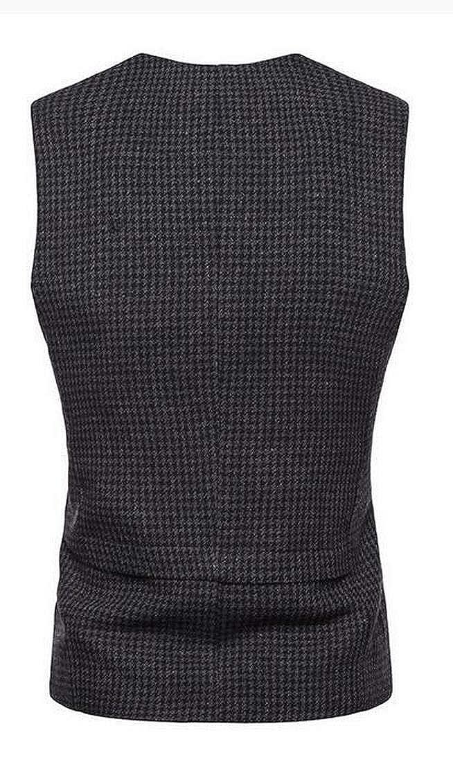 MK988 Mens V Neck Sleeveless Houndstooth Single Breasted Business Dress Suit Vest