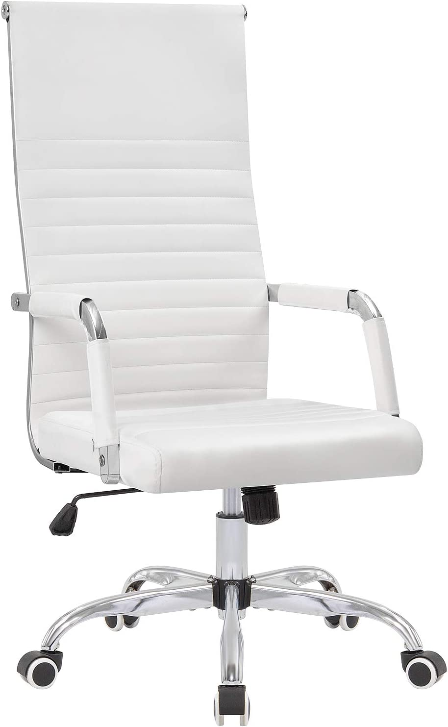 KaiMeng Ribbed Office Chair High Back PU Leather Chair Adjustable Swivel Task Chair with Armrest for Conference Study Leisure (White)