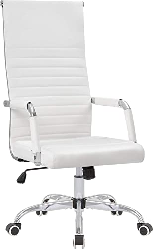 KaiMeng Ribbed Office Chair High Back PU Leather Desk Chair Adjustable Swivel Task Chair Computer Chair