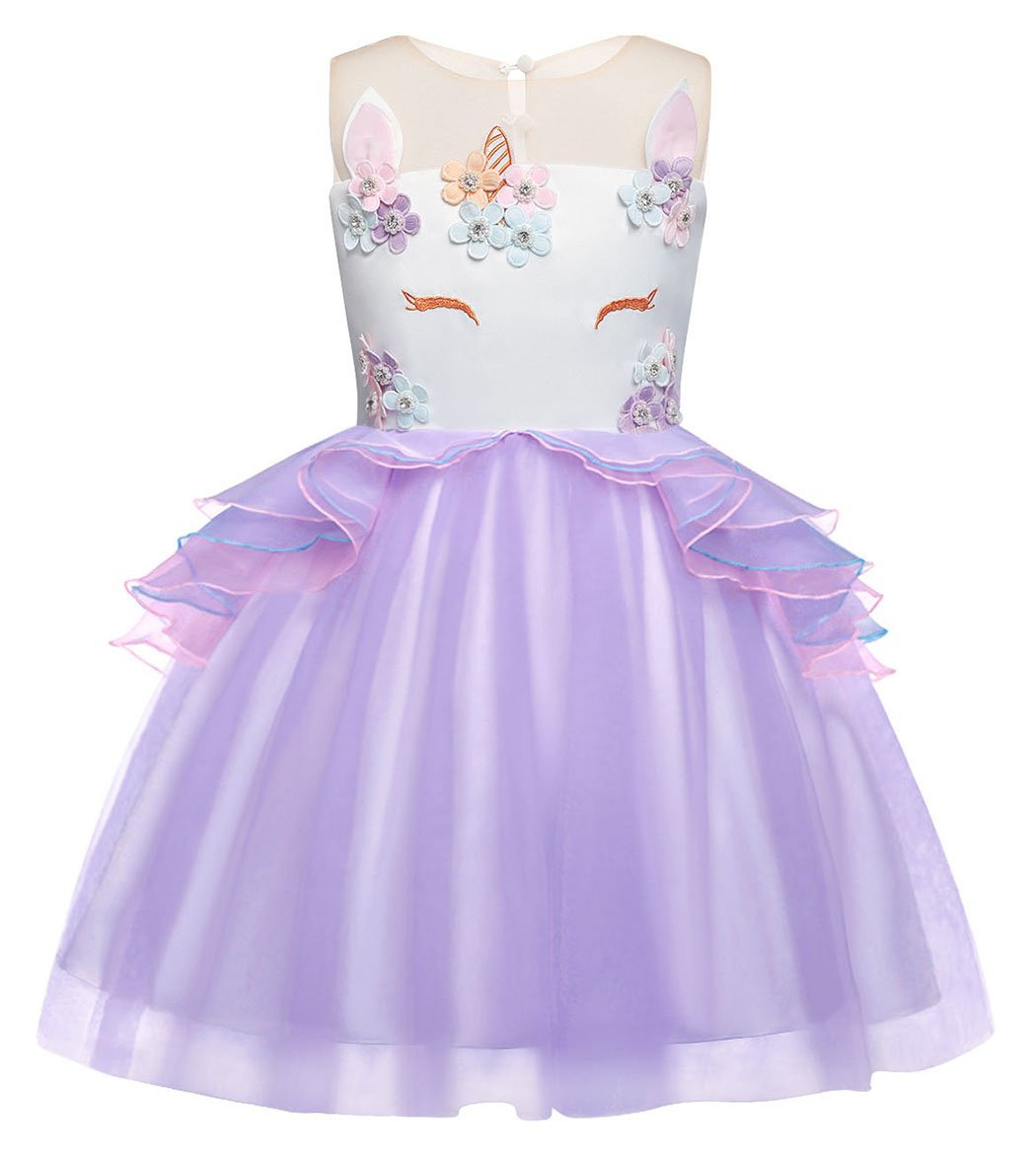 Cotrio Baby Girls Unicorn Costume Dress Pageant Party Dresses Flower Evening Gowns Tutu Dress Size 8 (7-8Yrs, Purple)