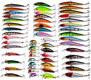 RoseFlower Mixed Fishing Lures, kit of Metal Hard Minnow and Soft Lures, Life-Like Fishing Baits, Suitable for