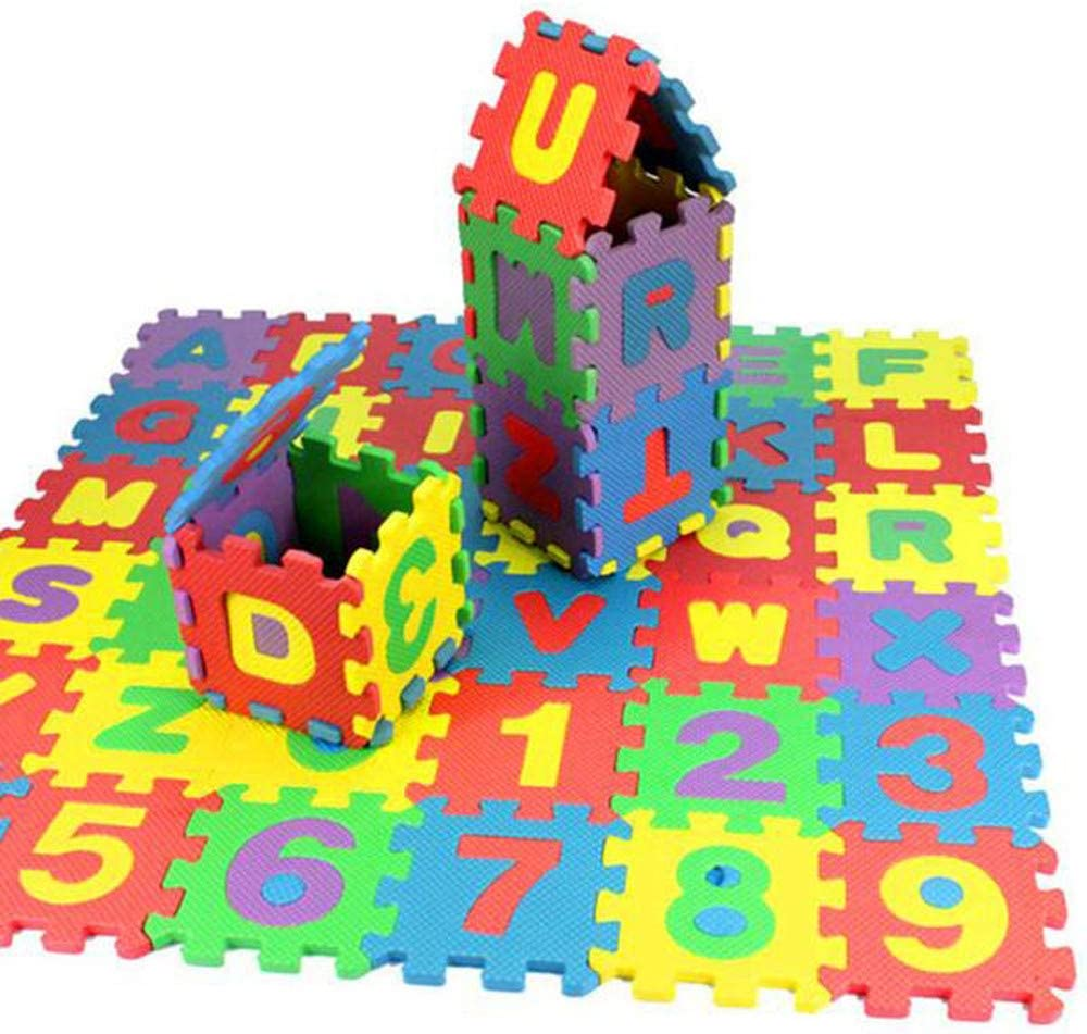 Kiorc 36Pcs Number Alphabet Puzzle Foam Maths Educational Toy Gift Alphabet Foam