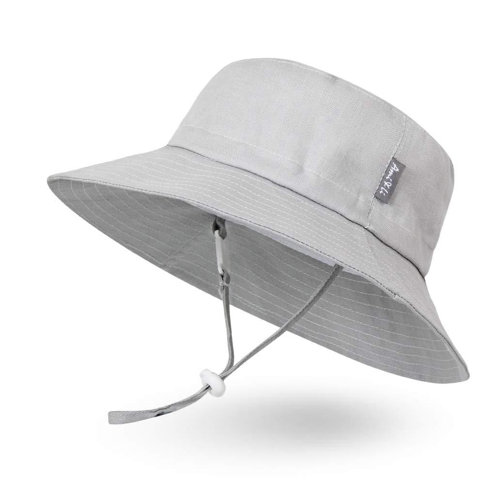 Ami&Li tots Adjustable Sunscreen Bucket Sun Protection Summer Hat for Baby Girl Boy Infant Kid Toddler Child UPF 50 Light Gray by Ami&Li tots