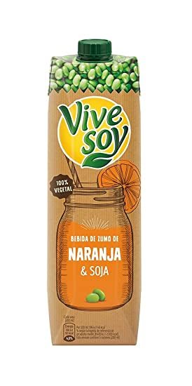 Vivesoy - Bebida de Soja y Zumo de Naranja 1 litro - Pack de 8 (