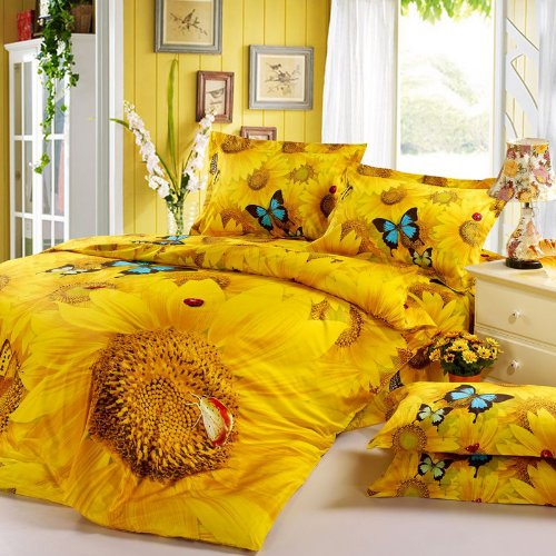 DIAIDI,3D Sunflower Bedding Sets,Butterfly Bedding Set,Unique Bedding Sets,Yellow Bedding,Flower Bedding Sets,Queen King Bed Sets,4Pcs Bed Cover Set (Queen)