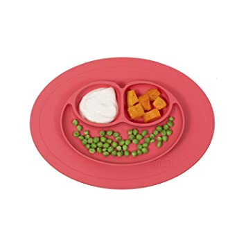 Baby Dish Dishwasher Safe Silicone Divided Plate Baby Bowl Strong Table Suction Fits Most Highchair Trays Coral