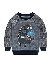 Mud Kingdom Dinosaur Boys Long Sleeve Sweatshirt Pullover Round-Neck