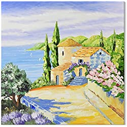 SEVEN WALL ARTS - Modern Knife Painting Landscape Artwork Mediterranean Tuscany Italy Coastal Scenery with Spring Flowers on Canvas for Home Decor Decoration Gift 32 x 32 Inch