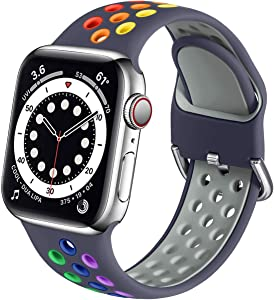 Muranne Sport Bands Compatible with Apple Watch 44mm 42mm iWatch SE & Series 6 & Series 5 4 3 2 1 for Women Men, Blue Gray/Rainbow, M/L