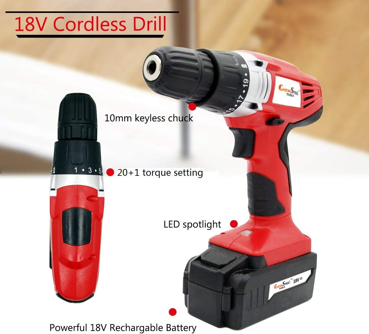 Chew Steel Tools 18 V Cordless Drill, Power Drill Set with 1200 mAh Battery and Charger, Keyless Clutch, Variable Speed, 21 Position and 32pcs Drill Driver Bit