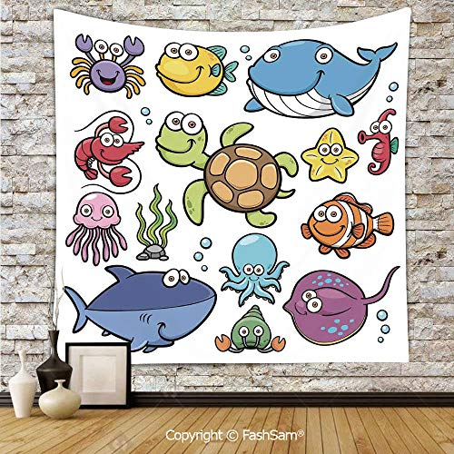Tapestry Wall Blanket Wall Decor Ocean Animals Collection Cheerful Swimming Clown Fish and Puffer Fish Shrimp Artwork Home Decorations for Bedroom(W51xL59)
