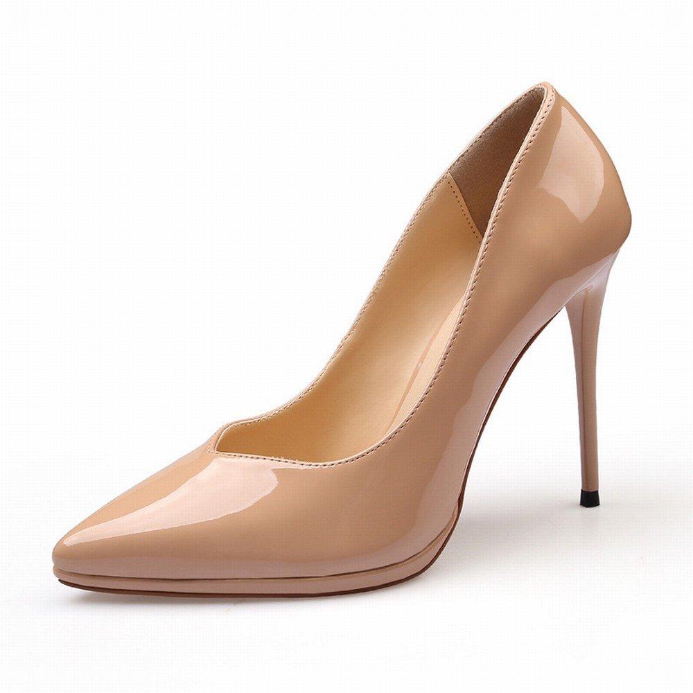 CXY Westliche Spitze Schuhe Lackleder Wasserdichte Plattform mit High Heels Flachen Mund Sätze von Einzelnen Schuhe Weiblich Schwarz,Aprikose,37 -