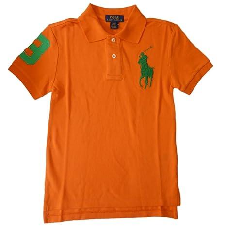 Ralph Lauren Niños Polo Camiseta de naranja verde Big Pony Polo ...
