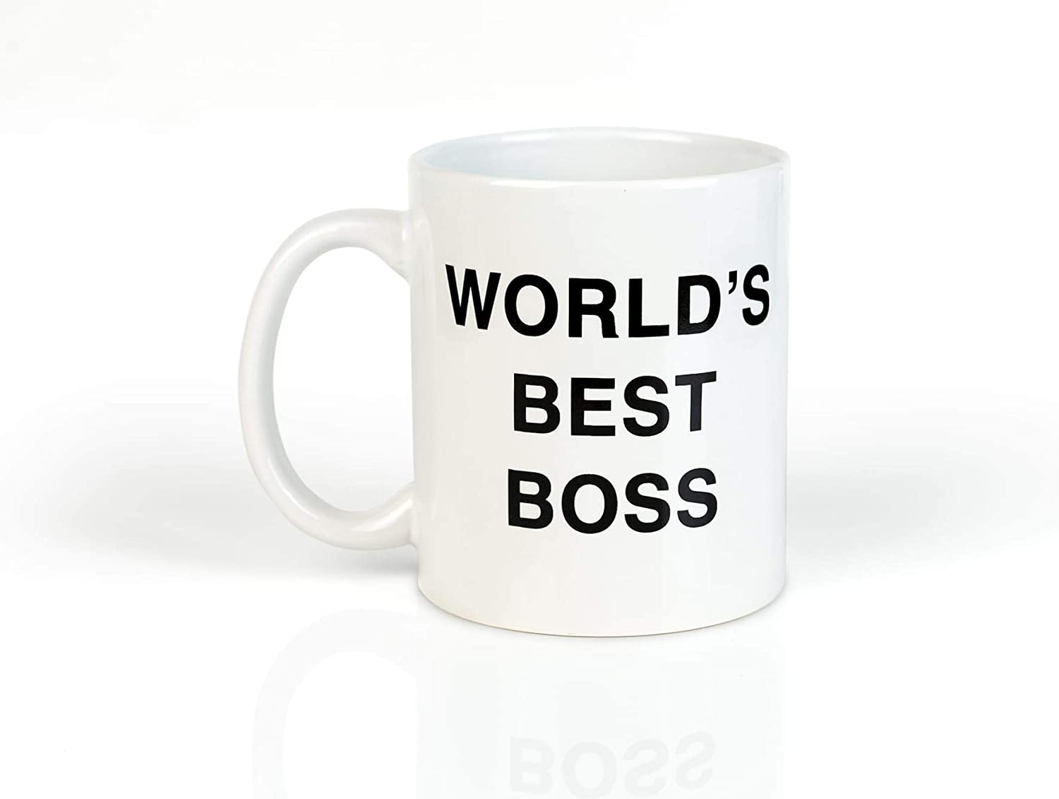 The Office World's Best Boss Ceramic Coffee Mug - Funny 11oz Dunder Mifflin Hot Tea Cup - Cute Christmas, Birthday Party Gag Gift For Men, Women, Coworkers, Colleague - Perfect For Desk, Kitchen, Work