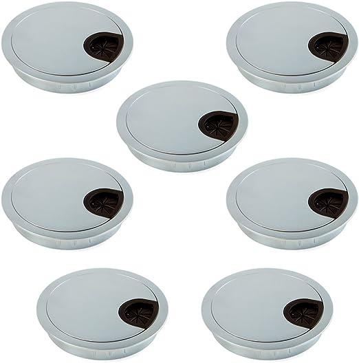 Emuca - Pasacables de mesa circular Ø80mm de zamac cromado mate ...