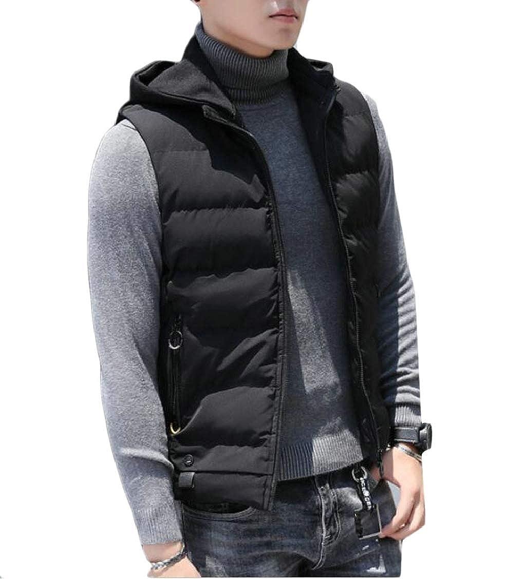 XQS Men Vest Jacket Warm Cotton Sleeveless Thick Zipper Pocket Tops Outwear