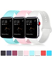 Pack 3 Compatible with Apple Watch Band 38mm 40mm 42mm 44mm Women Men, Soft Silicone Band Replacement for Apple iWatch Series 4, Series 3, Series 2, Series 1