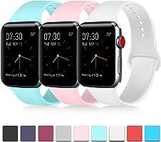 3 件裝兼容蘋果手表帶 38mm 40mm 42mm 44mm 軟硅膠替換表帶適用于 Apple iWatch 系列5、系列4、系列3、系列2、系列 1