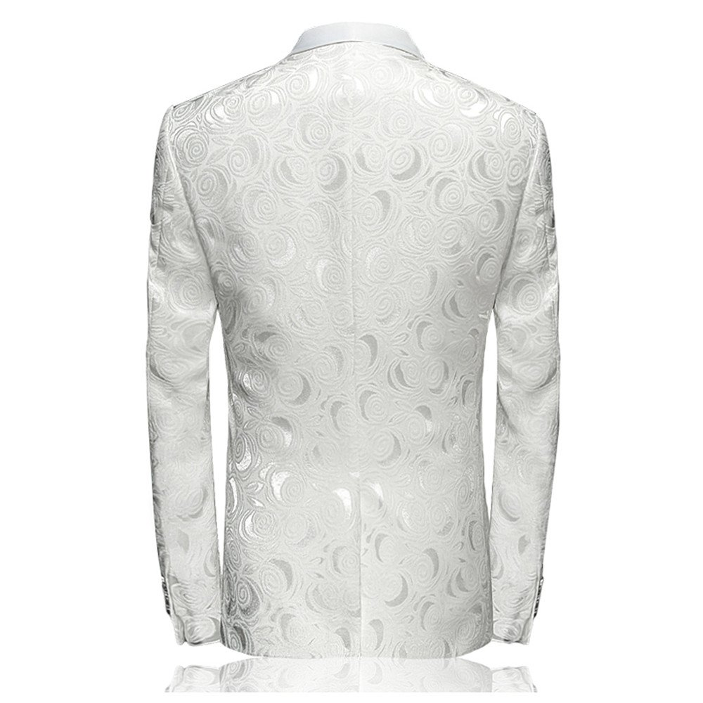 YL Mens Single Button Hidden Flowers Design Suitjackets Slim Fit Stage Performance White SuitsJackets