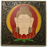 Buddha Wall Painting - Wall Decoration for Meditation or Yoga Room - Gautama Buddha - Amitabha Buddha - Posturing in Meditation - Entirely Handmade and Hand Painting in India - Intricate Claywork