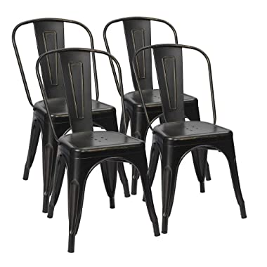 Furmax Metal Chairs Indoor/Outdoor Use Stackable Chic Dining Bistro Cafe Side Chairs Set of 4 (Gold Black)