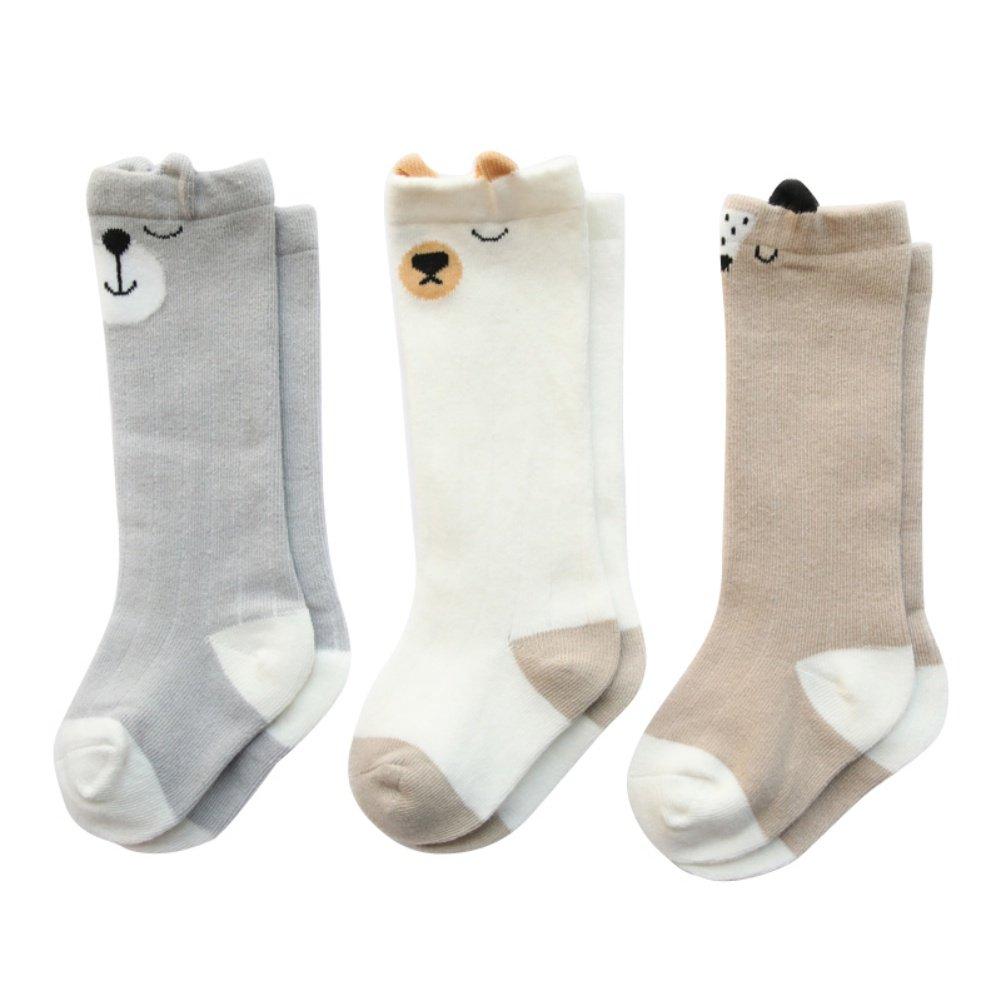 Bébé Genou Haute Longue Chaussettes 3 Paires / ensemble Anti-slip Jersey Stockage de Coton pour 0-3 Ans Garçon Fille Shiningup