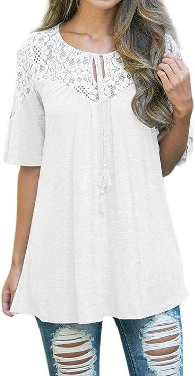 Crochet Plus Size Lace Tie Gasa Blusa Tops Camiseta Elegante Moda Retro Manga C: Amazon.es: Ropa y accesorios
