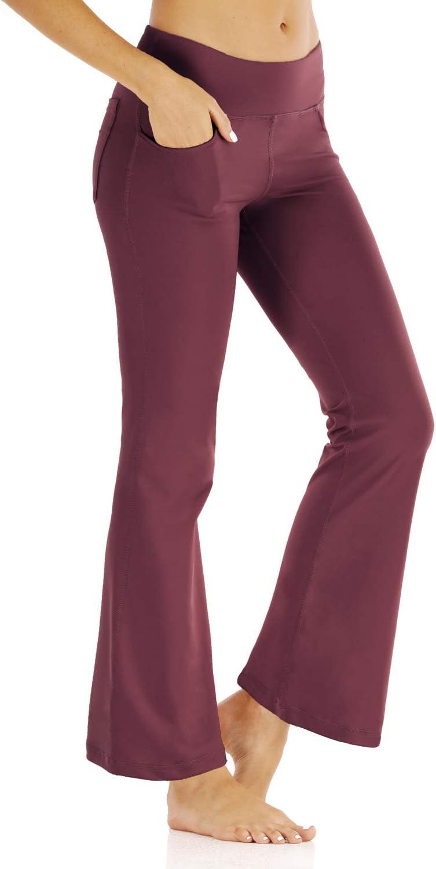 Butrends Pantalon de Yoga Extensible Bootcut avec Poches Femmes Long Casual Pantalon Pantalon de Sport Taille Haute Pantalon Bootleg de contr/ôle du Ventre