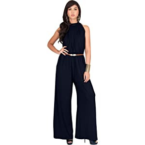 bd4b8d62f6c KOH KOH Womens Sexy Sleeveless Wide Leg Pants Cocktail Pantsuit Jumpsuit  Romper