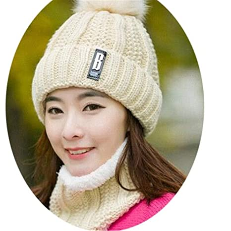 26d32d0d439501 Amazon.com: B Letters Knitted Hat Women Brand Winter Women Ball Ski Rabbit Fur  Hat Pompoms Hats Knitted: Clothing