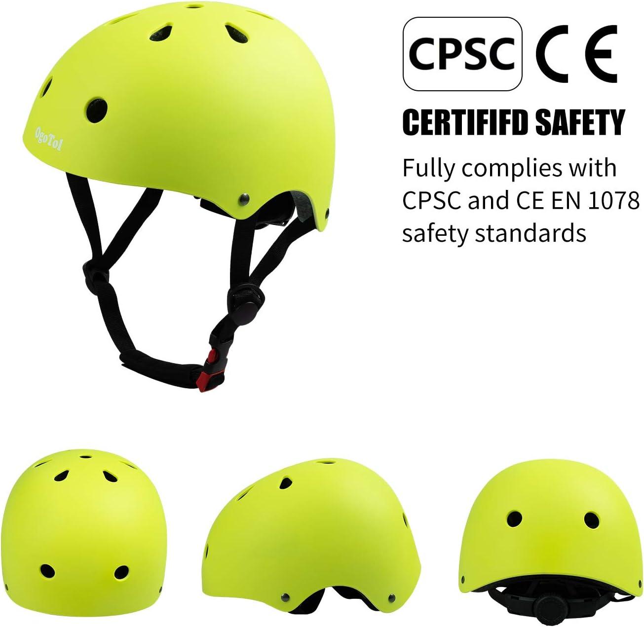Purpol Kids Bike Helmet Toddler Helmet 3-8 Years Sport Protective Gear Set Boy Girl Adjustable Child Cycling Helmet with Knee Pads Elbow Pads Wrist Guards Skateboard Helmet CPSC Certified