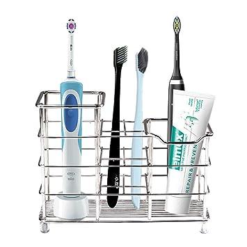 Soporte de metal para cepillos de dientes, acero inoxidable, soporte para cepillo de dientes eléctrico, pasta de dientes, maquinillas de afeitar, ...