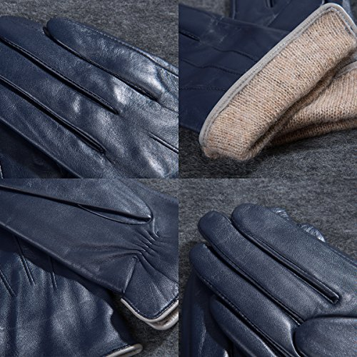 MATSU Women Winter Warm Leather 100% Cashmere lined Gloves TouchScreen 5 Colors M9906 (L, Navy Blue-TouchScreen) by Matsu Gloves (Image #6)