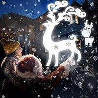 LED Projecteur de Neige Nouvelle Génération, Lampe Projection de Noël Extérieur et Intérieur,Etanche IP65,Décoration Murale,Eclairage Party, Jardin en Noël avec 20 Motifs et Télécommande RF TOFU