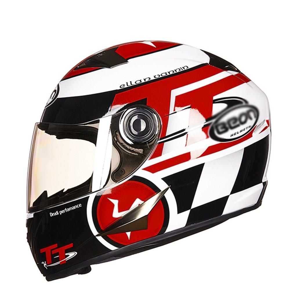 男性と女性のためのパーソナライズオートバイヘルメットフルカバレッジヘルメットオートバイフルヘルメットレースオートバイヘルメット (Color : Black -Red, Size : M)   B07G8WWQ6G
