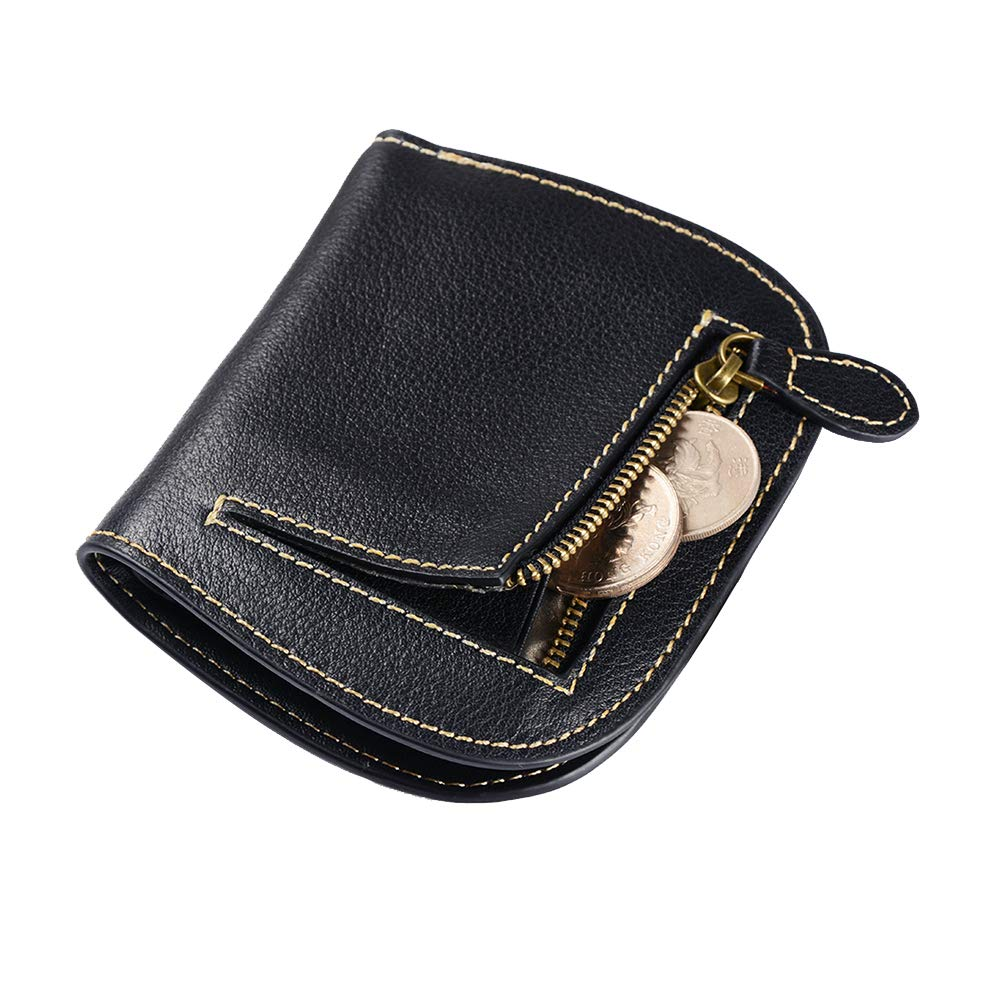 Befen Women's RFID Blocking Small Compact Bifold Leather Pocket Wallet Ladies Mini Purse with ID Window (Black)