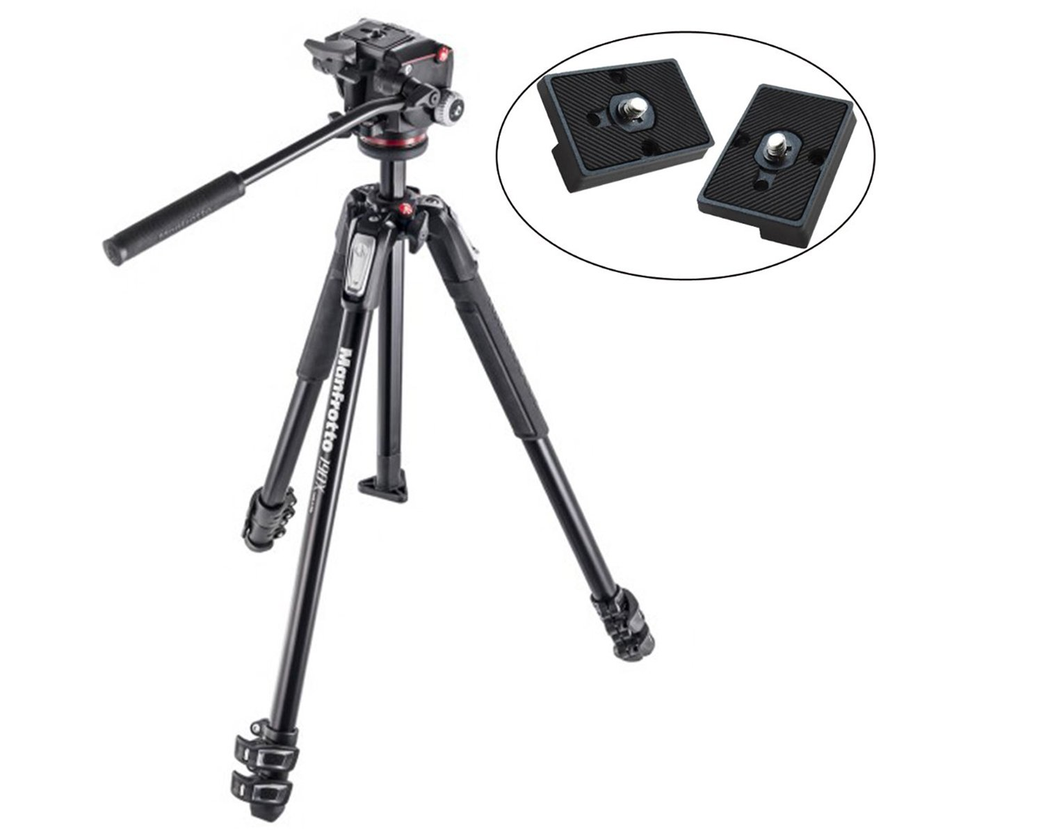 Manfrotto MK190X3-2W 190 Aluminum 3 Section Tripod Kit with MHXPRO-2W Fluid Head (Black) and Two ZAYKIR Quick Release Plates for the RC2 Rapid Connect Adapter