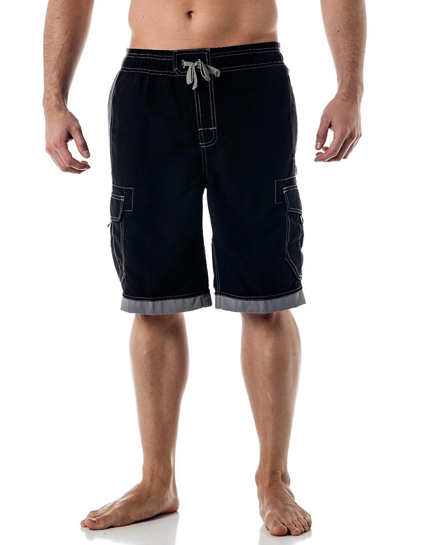 US Apparel Men's Islander Board Shorts, Black, L
