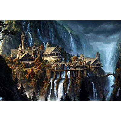 PTWJ 1000 Piece Adult Jigsaw Puzzle Landscape Painting The Lord of The Rings Movie Unique Gift -Home Decor Art: Toys & Games