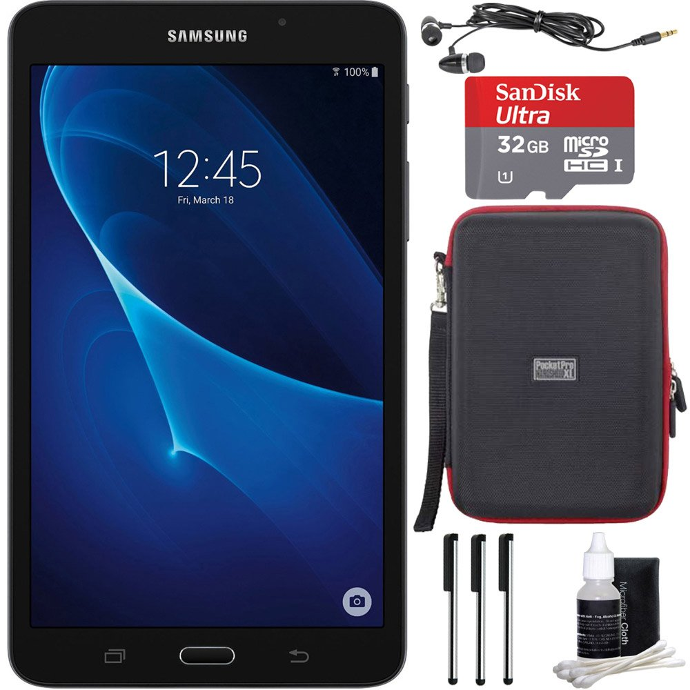 Samsung Galaxy Tab A Lite 7.0'' 8GB Tablet PC (Wi-Fi) Black Bundle includes Tablet, 32GB MicroSDHC Memory Card, Sleeve, Earbuds, 3 Stylus Pens and Cleaning Kit