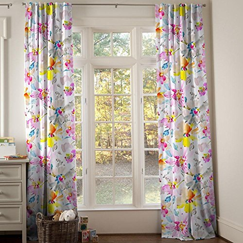 Carousel Designs Watercolor Floral Drape Panel 96-Inch Length Standard Lining 42-Inch Width by Carousel Designs