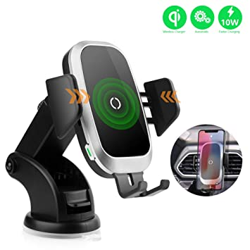 NeotrixQI Cargador Inalámbrico Coche, Qi Sujeción Automática Carga Rapida Movil Inalambrico Soporte Accesorios para iPhone XS MAX/XR/X/8 Plus,Samsung ...