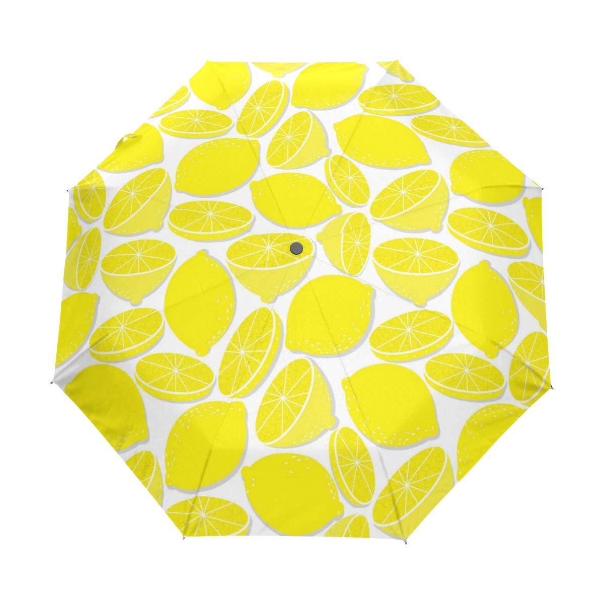 Lemon And Orange Slices fashion print cute Windproof automatic tri-fold umbrella sun UV protection Sun umbrella