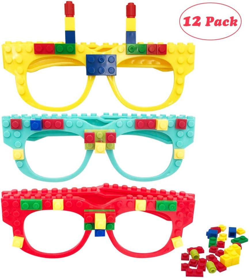 Carnival Party Games Supplies 12 Pcs DIY Building Bricks Glasses Building Blocks Games for Kids Creative Building Block Birthday Party Favors